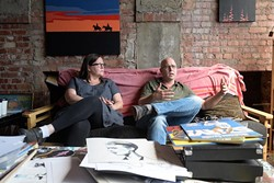 """Romy Owens and Adam Lanman talk about """"Outnumbered"""", an art show they will be participating in, Tuesday, Aug. 16, 2016. - GARETT FISBECK"""