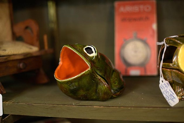 Ceramic frog at Decades Revisited, Monday, March 6, 2017. - GARETT FISBECK