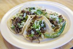 Carne asada tacos at Taqueria El Rey, Monday, Oct. 3, 2016. - GARETT FISBECK
