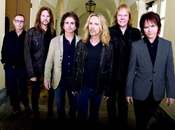 """MACON, GA - OCTOBER 04:  Rock Group STYX L/R: Chuck Panozzo, Ricky Phillips, Todd Sucherman, Tommy Shaw, James """"J.Y."""" Young and Lawrence Gowan. Portrait shoot at Macon City Auditorium on October 4, 2014 in Macon, Georgia. - PHOTO BY RICK DIAMOND/GETTY IMAGES FOR STYX"""