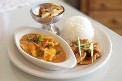 Chicken Gin Rama and Chicken Panang Curry with dumplings at Gin Thai Fusion in Edmond, Friday, Feb. 17, 2017. - GARETT FISBECK