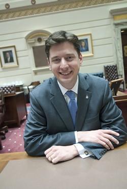 Senator Holt at his desk on the floor, 2-13-13.  mh