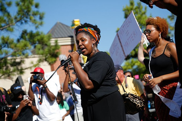 Auziah Antwine speaks during a Black Lives Matter demonstration in Oklahoma City, Sunday, July 10, 2016. - GARETT FISBECK