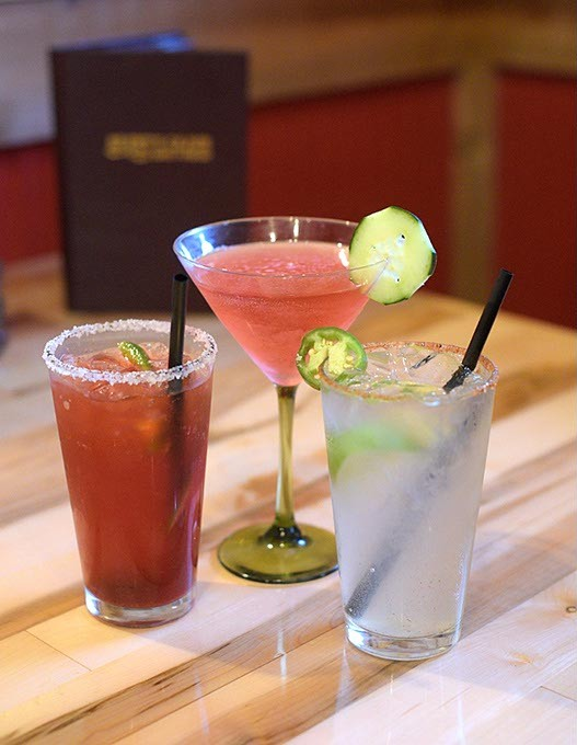 Cucumber Cosmo, Straberry Jalepeno Margarita, and Creole Club Special at Brent's Cajun in Edmond, Tuesday, April 25, 2017. - GARETT FISBECK