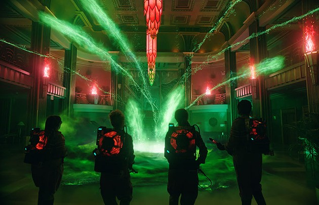 The Ghostbusters Abby (Melissa McCarthy), Holtzmann (Kate McKinnon), Erin (Kristen Wiig) and Patty (Leslie Jones) inside the Mercado Hotel Lobby in Columbia Pictures' GHOSTBUSTERS. - COURTESY OF SONY PICTURES