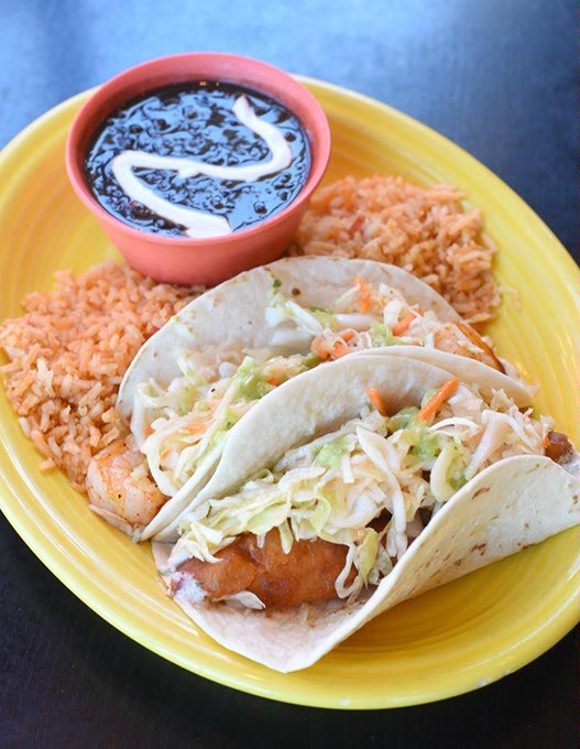 Grilled shrimp and crispy fish tacos at Mama Roja in Oklahoma City, Thursday, July 21, 2016. - GARETT FISBECK