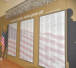 The names of Oklahomans who died during the Vietnam War are listed outside the entrance to the Welcome Home exhibit. | Photo Jacob Threadgill