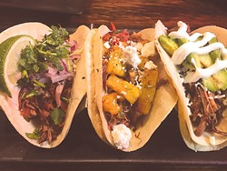 Hacienda Taco's most popular item: street taco combination with carnitas, al pastor and barbacoa | Photo Jacob Threadgill