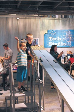 The raceway lets visitors test their new Lego vehicles in the Kid Inventor exhibit at Science Museum Oklahoma.   Photo Science Museum Oklahoma / Provided