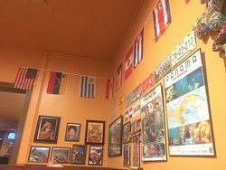 Flags from all of the countries represented on Zarate's menu. (Photo Jacob Threadgill)