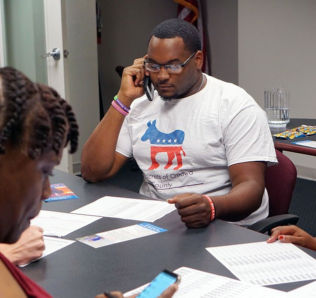 Joshua Harris-Till, who serves as Young Democrats of Oklahoma president, makes calls to voters in Senate District 45 in support of the Democratic candidate. (Photo Megan Nance)
