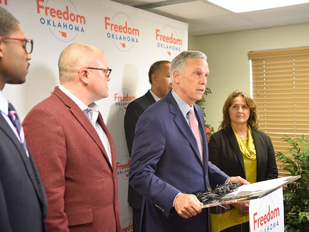 Kirk Humphreys issued an apology at a press conference with Freedom Oklahoma and later told John Rex Charter Elementary School parents he has no plans to step down from its board of directors. (Photo Laura Eastes)