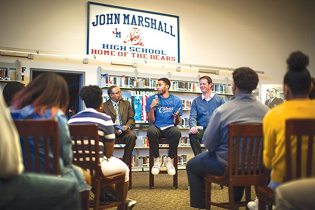 Oklahoma City Thunder's Josh Huestis discusses the classic novel Invisible Man at John Marshall Mid-High School in January as part of the Ralph Ellison Foundation's outreach efforts. | Photo provided