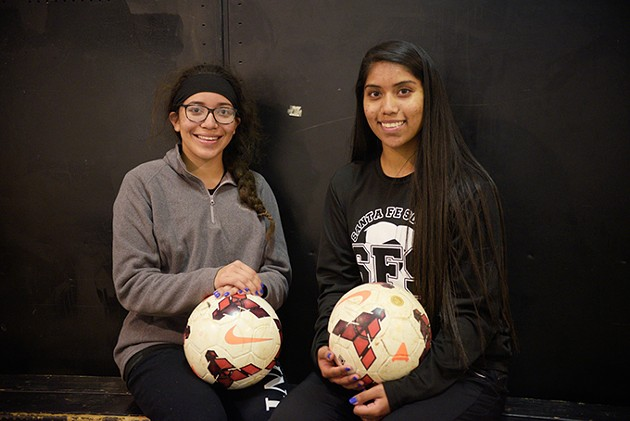 from left Alejandra Andrade and María García are some of the first student athletes from Santa Fe South High School to sign letters of intent to play college soccer. (Photo Laura Eastes)
