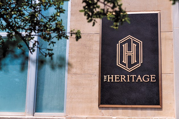 A brass name plate marks the entrance of The Heritage, 621 N. Robinson Ave. Bond Payne led the remodel of the historic building, which reopened - last year. - PHOTO LOGAN WALCHER / PROVIDED