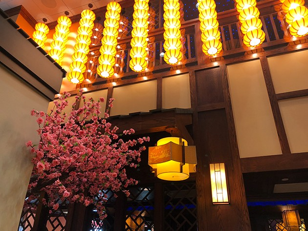 Cherry trees line the courtyard entrance of Kwan's Kitchen. (Photo provided)