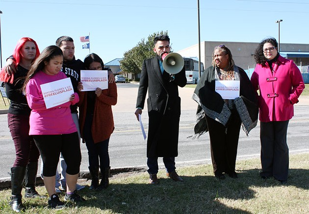 Family and friends of Luis Plaza gathered outside the U.S. Citizenship and Immigration Services office in south Oklahoma City in late October. (Photo Laura Eastes)
