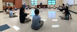 Pierce Elementary School students interact with an instructor from Oklahoma City Ballet. (Photo provided)