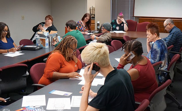 On Wednesdays, the Oklahoma Democratic Party's office turns into a phone bank where volunteers make calls to voters in support of the Democratic candidate in the Senate District 45 race. (Photo Megan Nance)