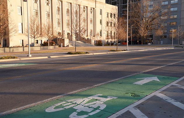 The concepts of livable streets are peppered through Oklahoma City's transportation system, like the bike lanes along Walker Avenue downtown. (Photo Laura Eastes)