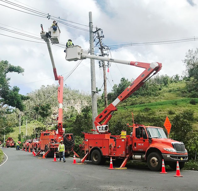 OG&E linemen work to restore power in Puerto Rico last month. (Photo provided)