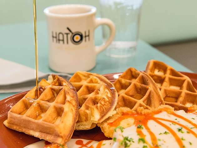 Chicken and waffles at Hatch - PROVIDED