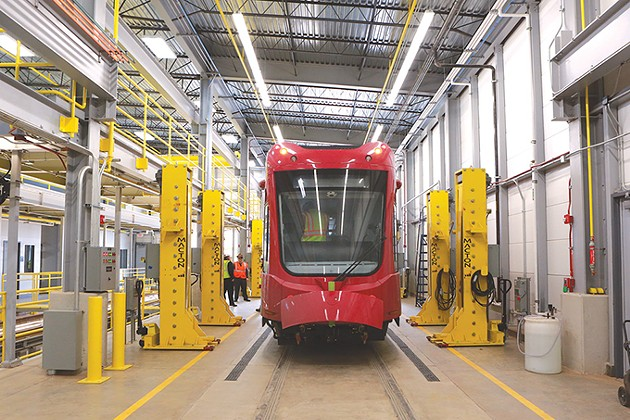 One of the first Oklahoma City streetcars rests  in the city's storage and maintenance facility after arriving in February. - CITY OF OKLAHOMA CITY / PROVIDED
