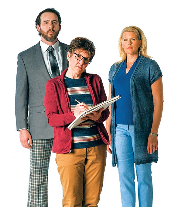 Mateja Govich (Bruce Bechdel), Lyn Cramer (Adult Alison) and Mandy Jiran (Helen Bechdel) in Lyric Theatre of Oklahoma's production of Fun Home - KEITH RINEARSON / PROVIDED