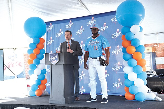 Michael Byrnes introduces the Cielo Azul name and uniform, worn by Juan Fuentes, at a fan event in southeast Oklahoma City. - LAURA EASTES