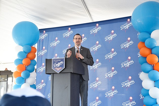 Michael Byrnes speaks about the upcoming Oklahoma City Dodgers season at a fan event in southeast Oklahoma City on March 20. - LAURA EASTES