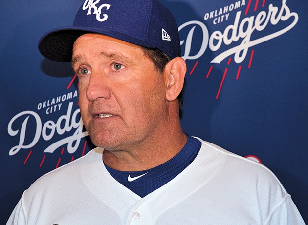 Oklahoma City Dodgers manager Bill Haselman discusses his team's outlook during a preseason media day. - JACOB THREADGILL