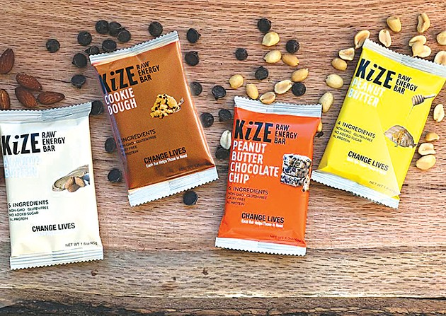 Almond butter, cookie dough, peanut butter chocolate chip and peanut butter are the best-selling Kize bars. - PHOTO PROVIDED