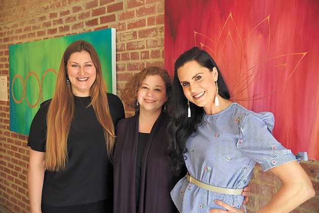 from left The Art Hall's independent curator Helen Opper, OSSM art and history professor Kelly Chaves and gallery owner Anna Russell pose for a photo inside the Uptown 23rd District art space. - BEN LUSCHEN