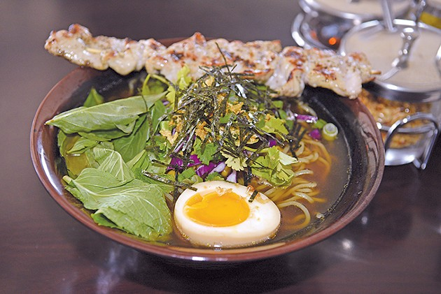 A Noodee bowl with ramen, grilled pork and pork broth. - PHOTO JACOB THREADGILL