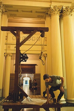 A gallows is constructed on the set of John Scamehorn's Pax Masculina inside Guthrie's Scottish Rite Temple. - NATHAN POPPE / PROVIDED