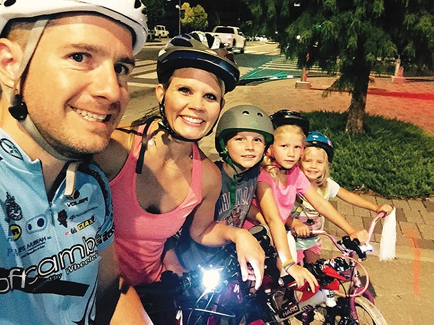 from left Jason, Erin, Gabe, Ava and Elin Engelke will participate in the Full Moon Bike Ride and Run June 21 for their fourth summer. - PROVIDED