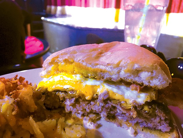 The breakfast burger and au gratin hash-browned potatoes - JACOB THREADGILL