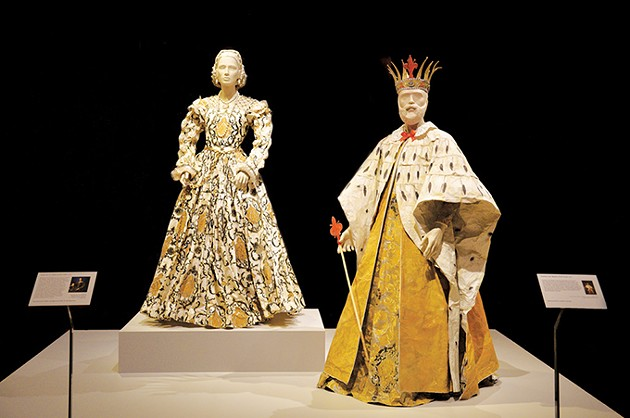 "from left Isabelle de Borchagrave's paper dress inspired by Agnolo Bronzino's circa 1544 portrait of Eleanora of Toledo and ""Mantua,"" based on a ca. 1750 court mantua in the collection of the Victoria and Albert Museum in London. - KARSON BROOKS"