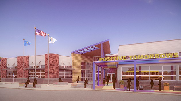A rendering of Positive Tomorrows' new facility. The school is scheduled to open for the fall 2019 academic semester. - POSITIVE TOMORROWS / PROVIDED