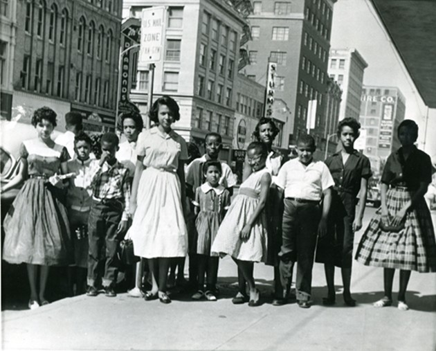 Youth gather outside John A. Brown department store before resuming the sit down in 1958. - OKLAHOMA HISTORY CENTER / PROVIDED