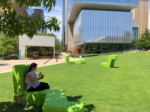 Newly redesigned Kerr Park features comfortable seating and a new pavilion. - PROVIDED