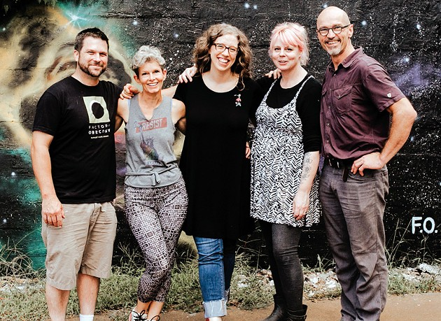 from left Hugh Meade, Laura Massenat, Kelsey Karper, Tammy Greenman and Laurent Massenat are the founders of Factory Obscura. - ALEXA ACE