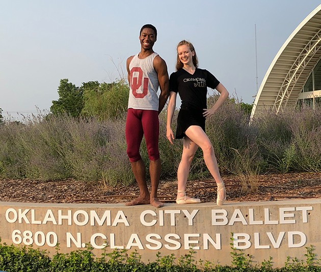 Ballet majors Micah Bullard and Caroline Young are the first OU students to be trainees with OKC Ballet as they continue their education and training at the university. - PROVIDED
