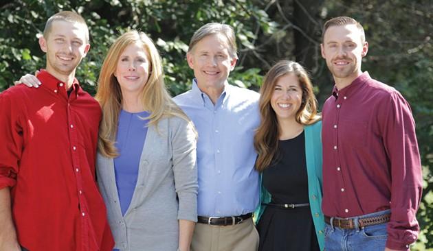 Mike Hunter (center, pictured with Brock Hunter, Cheryl Hunter, Rachel Hunter and Barett Hunter) is the Republican candidate for Oklahoma attorney general. - PROVIDED