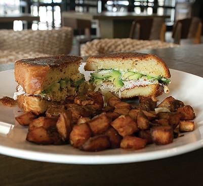 The California roll sandwich is served on housemade brioche bread. - ALEXA ACE