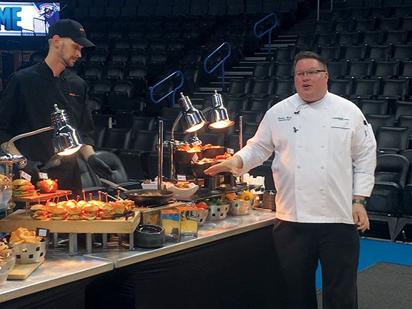 Chesapeake Energy Arena executive chef Andrew Murin introduces new dishes available for the 2018-2019 Oklahoma City Thunder season at the Thunder Food Court. - JACOB THREADGILL