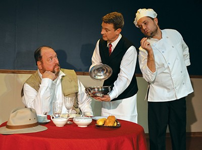 In An Empty Plate in the Café du Grand Boeuf, Claude tries to tempt Victor with the chef's succulent Chateaubriand after Victor announces he's going to quit eating. (from left Glen Hallstrom, Kevin Moore and C.W. Bardsher) - CARPENTER SQUARE THEATRE / PROVIDED