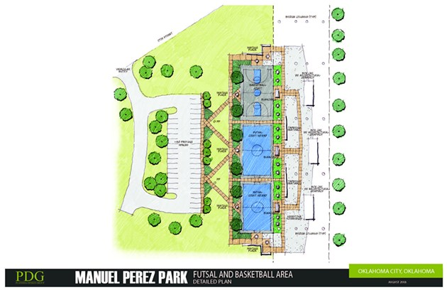 Proposed improvements to the new Manuel Perez Park along the Oklahoma River will include a memorial, a skate and BMX park, basketball courts and a soccer futsal. - PDG / PROVIDED
