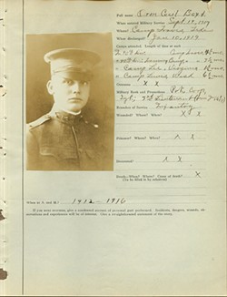 A survey filled out by O.C. Boyd, who served in the U.S. Army from 1917-1919 - NATIONAL COWBOY & WESTERN HERITAGE MUSEUM / PROVIDED