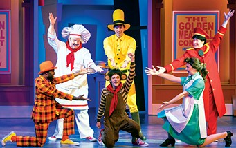 from left Elvie Ellis, Justin Larman, Gavin Guthrie, Greg Gore, Jenna Mazzoccoli and Bailey Maxwell perform in Lyric Theatre of Oklahoma's production of Curious George and the Golden Meatball. - KO RINEARSON / LYRIC THEATRE OF OKLAHOMA / PROVIDED